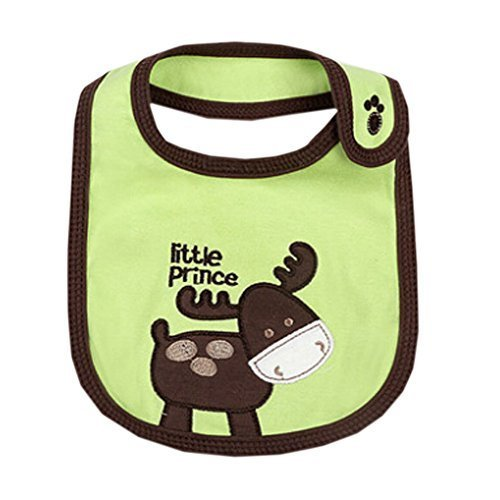 Lovely Donkey Green Cotton/PVC Adjustable Waterproof Baby Bib Pocket Bib 612""