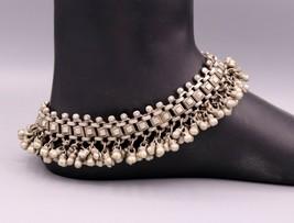 VINTAGE ANTIQUE SOLID SILVER OLD ANKLET FOOT BRACELET TRIBAL JEWELRY IND... - $445.49