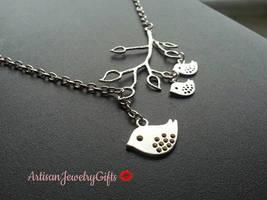 Mom Bird Baby Birds Necklace Silver Branch Necklace Mom Bird Baby Birds ... - $44.00+