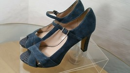Franco Sarto Mary Jane Heels Peep Toe  Blue Suede women's Size 9 With 4'... - $29.68