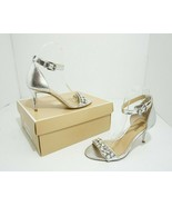 Michael Kors Sylvie Women's High Heel Sandals Ankle Strap Silver Leather... - $51.96