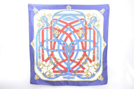 "HERMES Scarf ""CHIC ICONIC"" 100% Silk Navy 90cm 3441 - $190.00"