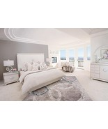 Glimmering Heights E King Upholstered Platform Bedroom Set in Ivory by Aico - $2,699.00