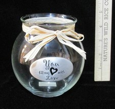 Rose Bowl You Fill My Heart With Love Metal Plaque Vase Decorative Ganz NOS - $9.89