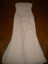 White Vera Wang Size 10 Pink Strapless Flowy Women Formal Dress Gown  - $108.90