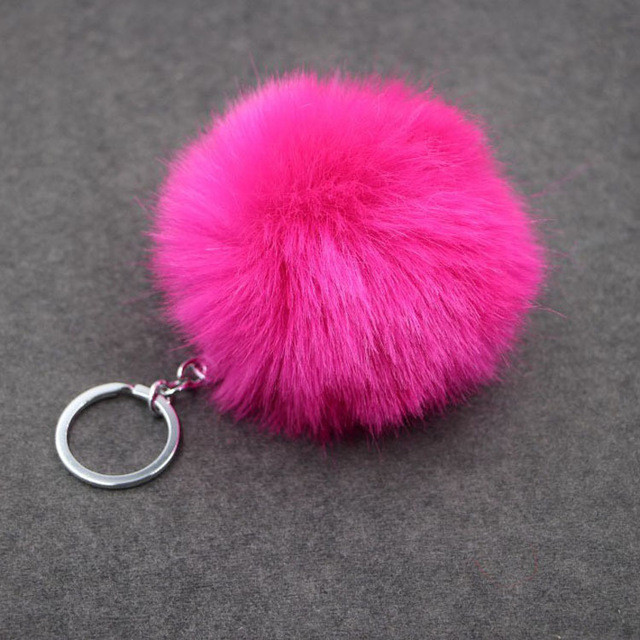 Keychain European 8CM Length  Rabbit Fur Ball