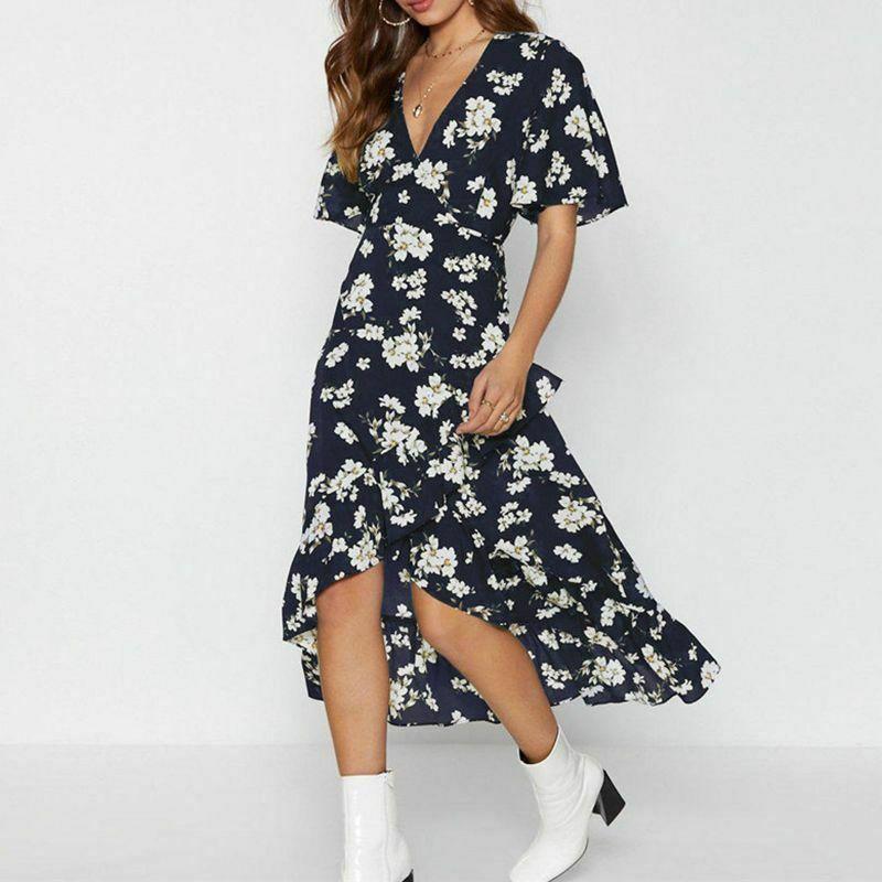 Women Floral Print Dress Summer Boho Style Ruffles Chiffon Casual Short Sleeve