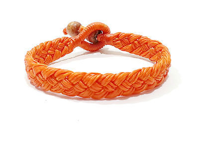 Wide Orange Cotton Mens Thai Wristband Classic Handcrafted Bead Bracelet