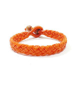 Wide Orange Cotton Mens Thai Wristband Classic Handcrafted Bead Bracelet - $6.50