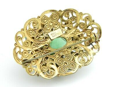 AUSTRIA Signed Green Glass Rhinestone Gold Tone Filigree Flower Pin Brooch