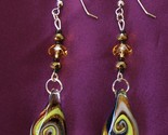 Handcrafted Dichroic Fused Glass Earrings Faceted Crystals Brass Rondelle Beads