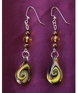 Handcrafted Dichroic Fused Glass Earrings Faceted Crystals Brass Rondelle Beads - €17,09 EUR