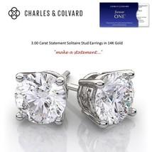 3.00 Carat Moissanite Forever One Stud Earrings in 14K Gold (Charles & C... - $1,295.00