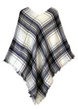Le Nom Soft Plaid Poncho (Navy) - $12.86