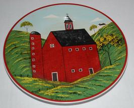 "Warren Kimble Brandon House Country Life Sakura 8"" Plate 1998 Red Barn Folk Art - $14.80"