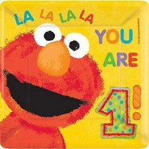 Elmo Sesame Street 1st Birthday Lunch Plates 18 Per Package 10 Inch Squa... - $5.89