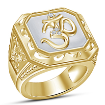 925 Sterling Silver 14k Yellow Gold Plated Round Cut Diamond Men's OM Ba... - $84.67