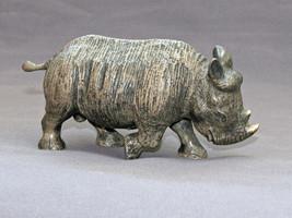 Detailed Rhinoceros Baby Bronze Rhino Art Signed Figurine Sculpture Stat... - $386.10