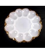 "Anchor Hocking milk glass 10"" round deviled egg plate gold border holds 12 - $17.90"