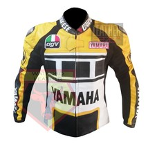 VALENTINO ROSSI GOODWOOD EVENT YAMAHA YELLOW COWHIDE LEATHER MOTORCYCLE ... - $194.99