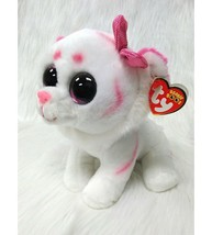 "10"" Ty Beanie Boos Purrcilla Kitten Cat White Pink Medium Mint Tag Plush... - $19.99"