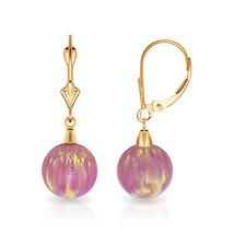 9 mm Ball Shaped Pink Fire Opal Leverback Dangle Earrings 14K Solid Yellow Gold - $99.04