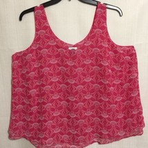 Old Navy Womens Size 2X Tank Pink White Sleeveless Polyester Tiered Hem - $14.84