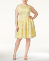 CALVIN KLEIN Plus Size 20W Printed Scuba Fit & Flare Dress Womens Day To... - $64.95