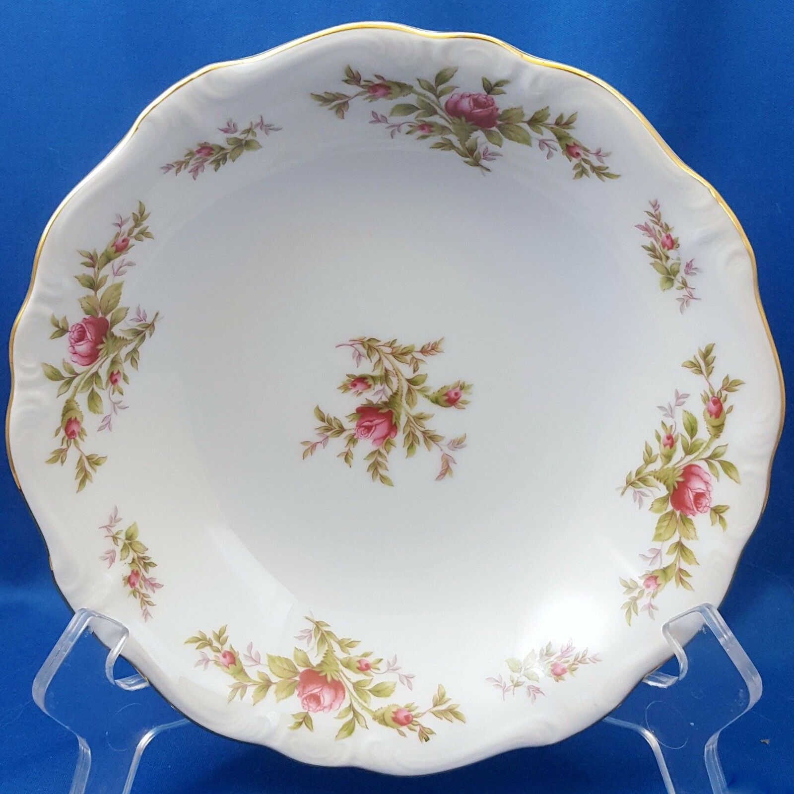 Primary image for Johann Haviland Moss Rose Coupe Soup Bowl White Red Roses Gold Trim 7.5""