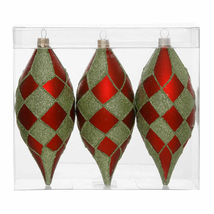 "3 Matte Red Lime Green Diamond Christmas Teardrop Ornaments 4.75"" - tkcc - $31.95"