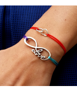 Sterling silver cord inspirational Bracelet with Infinity Love charm - $36.00