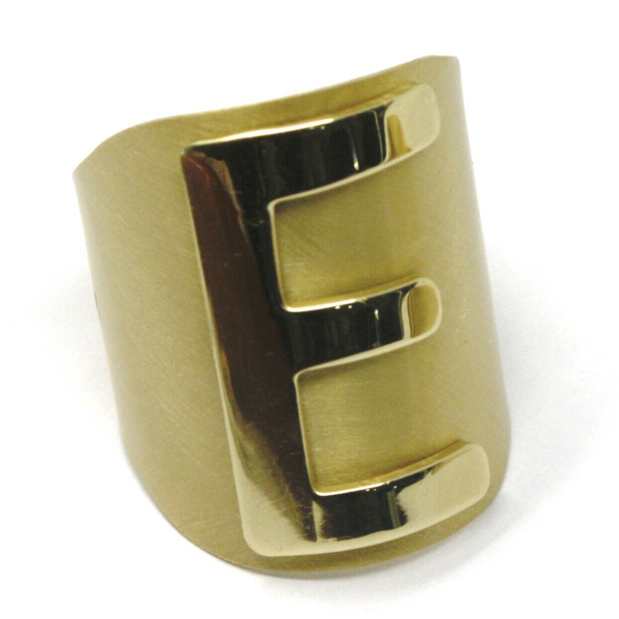 SOLID 925 STERLING SILVER BAND RING, BIG LETTER E, YELLOW SATIN FINISH, SIZABLE