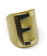 SOLID 925 STERLING SILVER BAND RING, BIG LETTER E, YELLOW SATIN FINISH, ... - $73.46