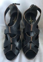 Cole Haan Black Leather Wedge Sandals Shoes US Size 7.5 - $64.35