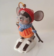 Christmas Skiing Mouse Ornament Country Ski Winter Snow Sport Holiday De... - $9.86