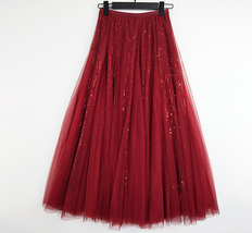 Wine Red Long Tulle Sequin Skirt High Waisted Red Christmas Holiday Skirt Outfit image 5
