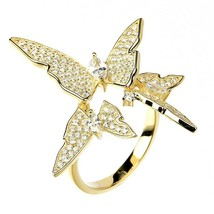 ZirconZ Cust-Pave Signity CZ 3 Flying ButterFlies Celebrity Sterling Sil... - $99.99