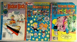 RICHIE RICH & GEMS lot of (3) issues (1979-1982) Harvey Comics - £7.52 GBP