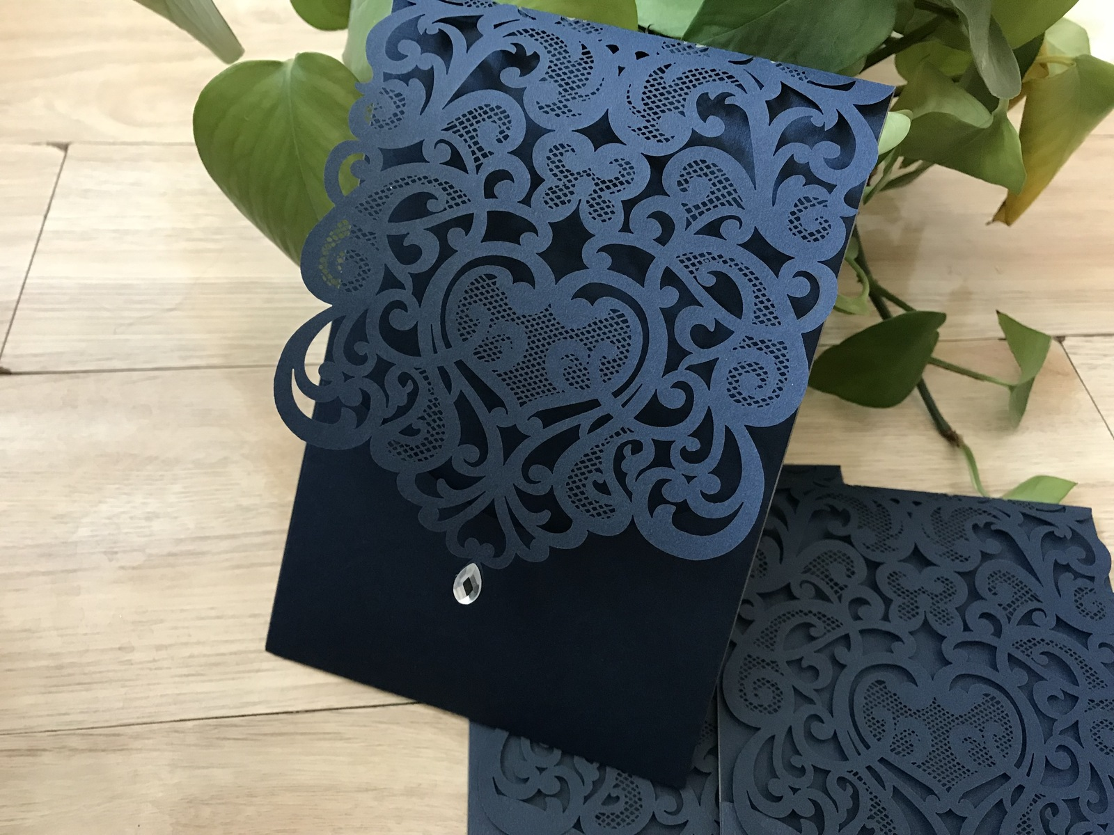 Dake Blue Pocket Style Laser Cut Invitaiton Cards,50pcs Wedding Invitations