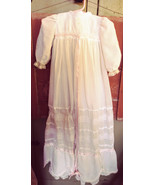 Baby Girl Christening Gown with Pink Ribbon Trim White lace Embroidered ... - $40.00