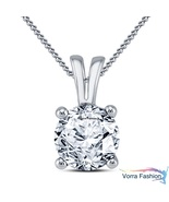 Solitaire Pendant W/ Chain For Women's Diamond White Gold Plated Pure 92... - £29.86 GBP