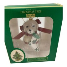 Spode Christmas Tree Ornament Dog In Sweater W/ Stocking New Boxed - $14.99