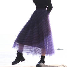 Purple Layered Tulle Midi Skirt A-line High Waisted Tulle Ruffle Skirt image 2