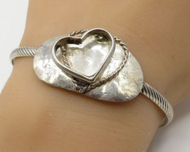 925 Sterling Silver - Vintage Love Heart Rope Accents Cuff Bracelet - B2122 - $59.19