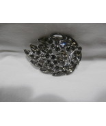 "Vintage Costume Jewelry Weiss 2 1/4"" Wide Brooch Smoke Colored Stones - $66.83"