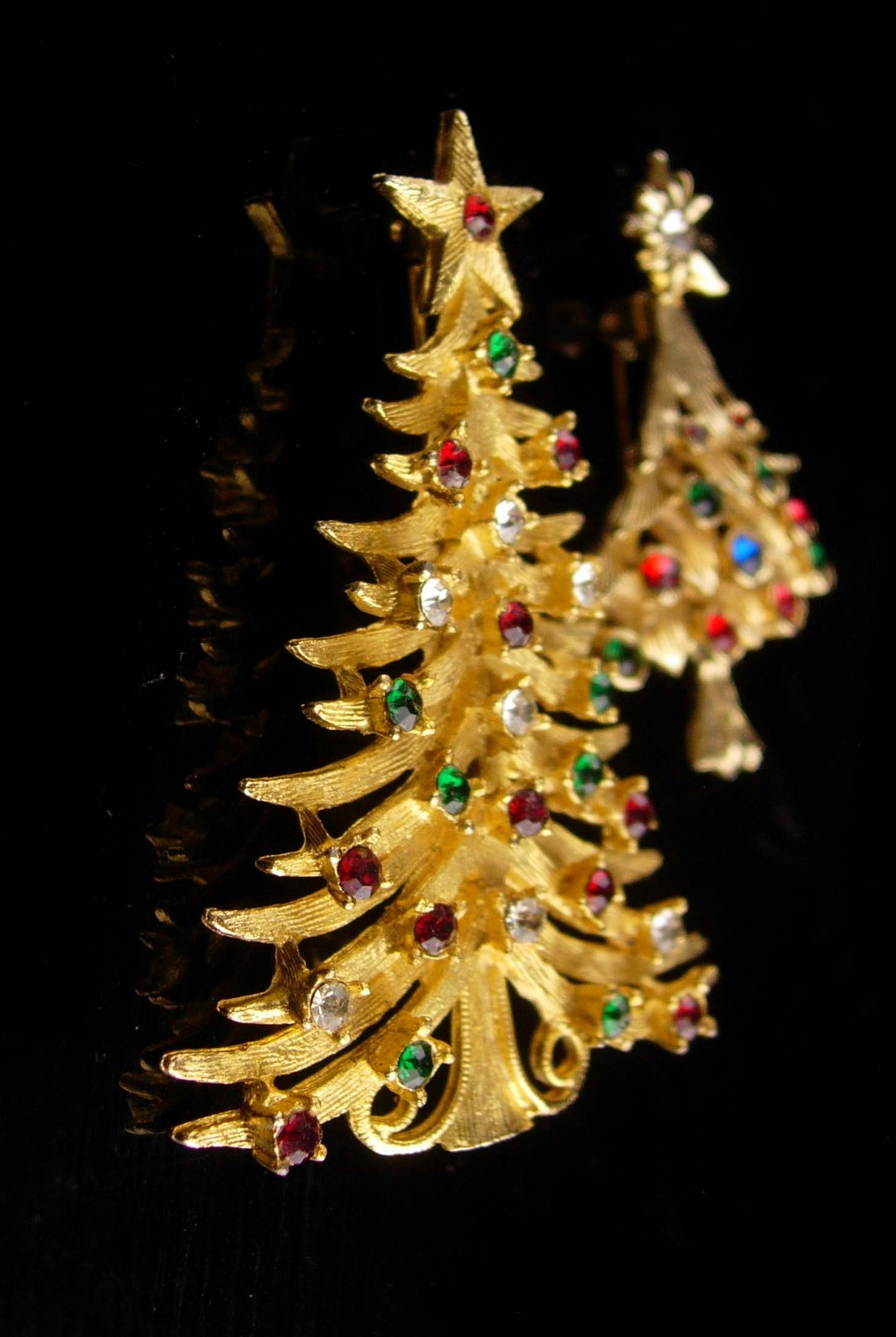 Vintage Christmas Tree brooch set / Signed MYLU star pin / Christmas gift for he image 4