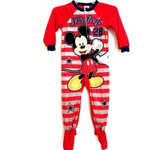 Disney Unisex 4T Footie Pajamas Mickey Mouse Red Striped Body Footed Sleepwear - $14.98
