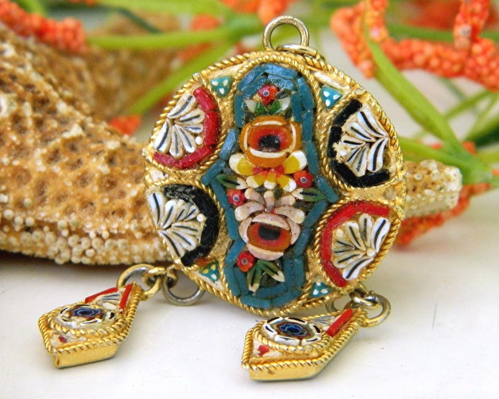Vintage micro mosaic italy pendant dangles flowers tesserae