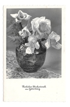 Happy Birthday Gluckwunsch Geburtag Vase Roses Austria HDH Verlag RPPC Postcard  - $5.50