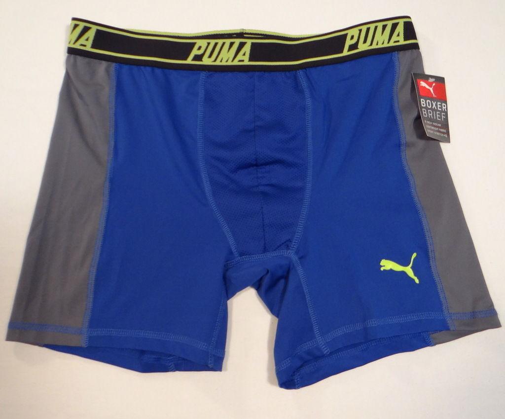 Puma Sport Stretch Blue & Gray Stretch Boxer Brief Underwear Men's NWT - $22.49
